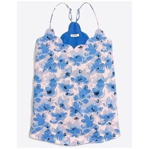 {J. Crew} Printed Scalloped Cami Top Blue Floral